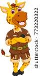 cute giraffe cartoon standing... | Shutterstock .eps vector #773220322