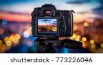 the camera on the background... | Shutterstock . vector #773226046