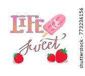 vector print with strawberries  ... | Shutterstock .eps vector #773236156