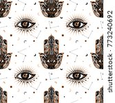 seamless pattern in medieval... | Shutterstock .eps vector #773240692