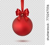 christmas ball with red bow and ... | Shutterstock .eps vector #773247556