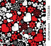 Red Skulls In Flowers And...