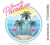 tropical island and flamingo... | Shutterstock .eps vector #773264386
