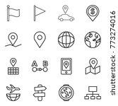 thin line icon set   flag  car... | Shutterstock .eps vector #773274016