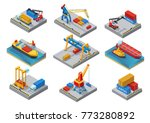 isometric sea port elements set ... | Shutterstock .eps vector #773280892