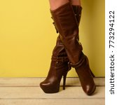 Girl In Brown Spring Boots...