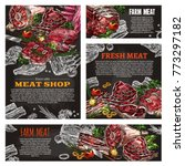 fresh meat product chalkboard... | Shutterstock .eps vector #773297182