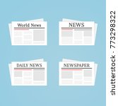 newspaper icon set. world and...