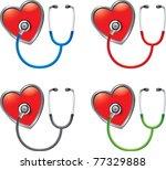 multicolored stethoscopes on...   Shutterstock .eps vector #77329888