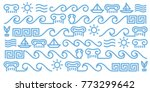 Vector Greek line art icons made of editable strokes
