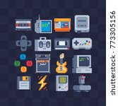 Pixel art flat icons set. Retro technology, computer, joystick, cassette, tape recorder. Retro style 80s. Accessories for consoles. Design apps. Game assets. Isolated abstract vector illustrations. | Shutterstock vector #773305156