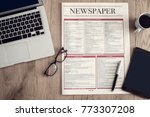 newspaper with computer on... | Shutterstock . vector #773307208