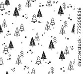 christmas tree set background.... | Shutterstock .eps vector #773308816