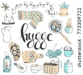 sketchy set. cozy hygge... | Shutterstock . vector #773309722