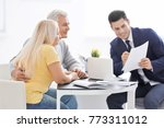 senior couple meeting with... | Shutterstock . vector #773311012
