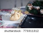 the piece of dough lying on the ... | Shutterstock . vector #773311312