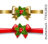 golden and red bow with holly... | Shutterstock .eps vector #773312812