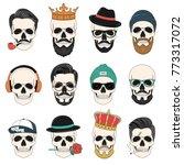 set of hipster skulls with hair ...   Shutterstock .eps vector #773317072
