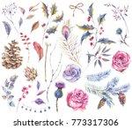 set of watercolor vintage roses ... | Shutterstock . vector #773317306