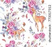 watercolor floral semless...   Shutterstock . vector #773317312