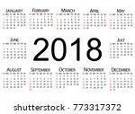 calendar 2018. weeks start with ... | Shutterstock .eps vector #773317372
