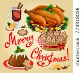 christmas dinner  traditional... | Shutterstock .eps vector #773318038