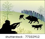 hunting wild boar. vector. | Shutterstock .eps vector #77332912