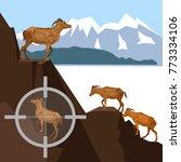 herd of wild goats in the... | Shutterstock .eps vector #773334106