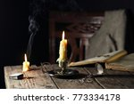 candles on the table with the... | Shutterstock . vector #773334178