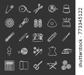 tailoring chalk icons set.... | Shutterstock .eps vector #773345122
