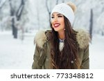attractive young woman in... | Shutterstock . vector #773348812