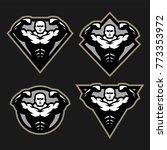 bodybuilder sport fitness logo  ...   Shutterstock . vector #773353972