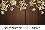 vector gold snowflakes on... | Shutterstock .eps vector #773358496