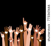 group of raising hands with... | Shutterstock .eps vector #773365666