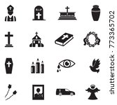 funeral icons. black flat... | Shutterstock .eps vector #773365702
