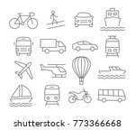 transport line icons on white | Shutterstock .eps vector #773366668