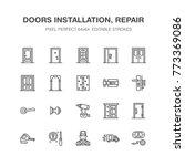 doors installation  repair line ... | Shutterstock .eps vector #773369086