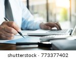 business man working at office... | Shutterstock . vector #773377402