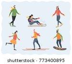 people in winter outdoor...   Shutterstock .eps vector #773400895