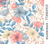 seamless pattern with gentle...   Shutterstock .eps vector #773401915