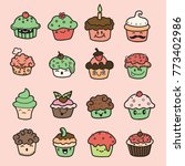 delicious cupcakes and vector... | Shutterstock .eps vector #773402986