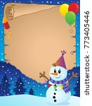 parchment with party snowman... | Shutterstock .eps vector #773405446