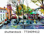 digital painting of paris... | Shutterstock .eps vector #773409412