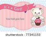 teddy bear baby girl shower... | Shutterstock .eps vector #77341153