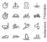 thin line icon set   stopwatch  ... | Shutterstock .eps vector #773414842