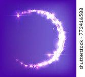 glowing crescent moon. neon... | Shutterstock .eps vector #773416588