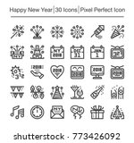 happy new year line icon... | Shutterstock .eps vector #773426092