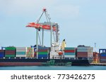 port cargo crane  ship and... | Shutterstock . vector #773426275