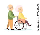 old senior couple. husband with ... | Shutterstock . vector #773432608