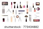 make up objects set. cosmetics... | Shutterstock . vector #773434882